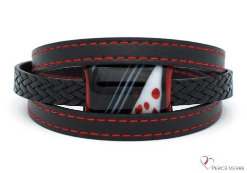 Bracelet en cuir noir et rouge pour homme #185-1