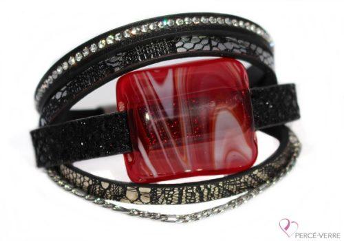 Bracelet motif serpent noir avec bijou rouge Super Fashion #160