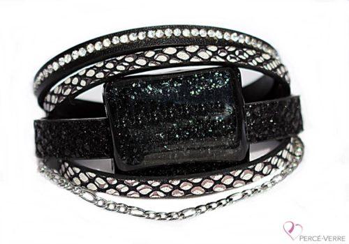 Bracelet noir et blanc en cuir pour femme, Super Fasion #162
