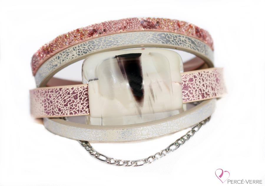 Bracelet en cuir rose pour femme, collection Super Fashion #164