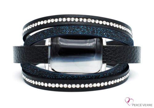 Bracelet en cuir noir et turquoise pour femme, collection super fashion #253