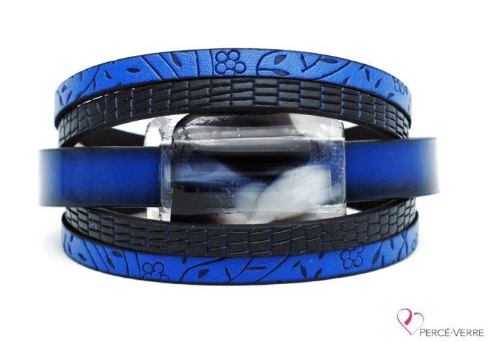 Bracelet en cuir bleu et noir pour femme, collection super fashion #261