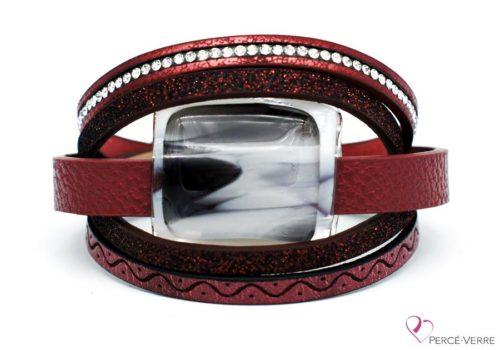 Bracelet en cuir bourgogne pour femme avec bijou de verre #270
