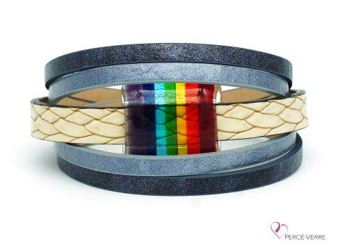 bracelet bleu jeans avec bijou arc-en-ciel #203