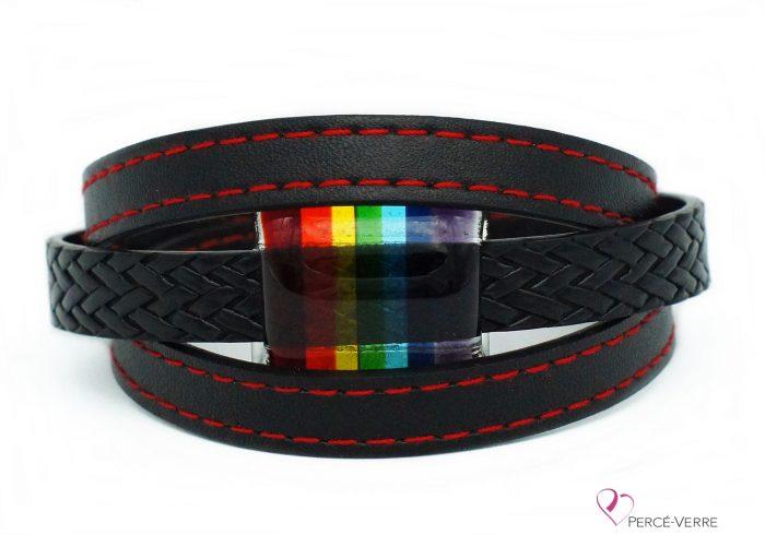 Bracelet noir et rouge avec bijou arc-en-ciel #206