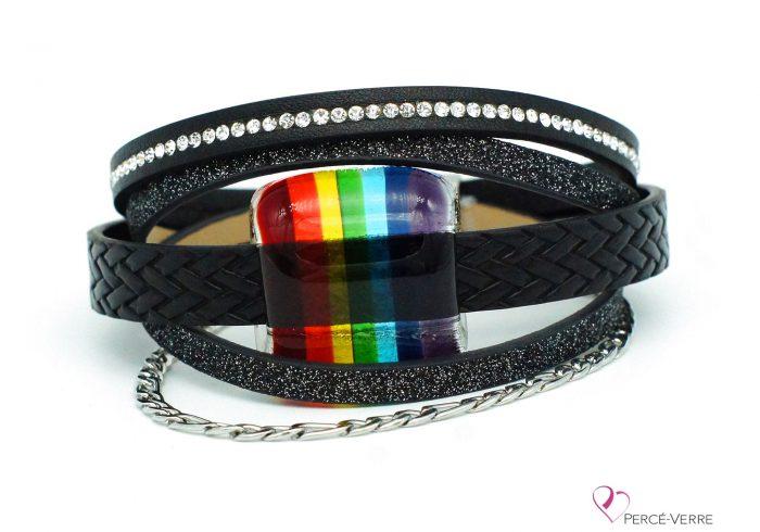 Bracelet noir scintillant avec bijou arc-en-ciel #205