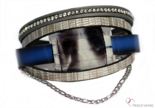 Bracelet en cuir bleu pour femme #158