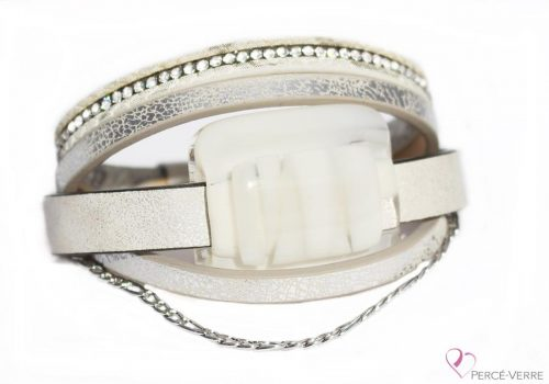 Bracelet blanc en cuir pour femme avec bijou de verre #161