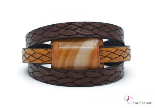 Bracelet en cuir brun tressé pour homme #178