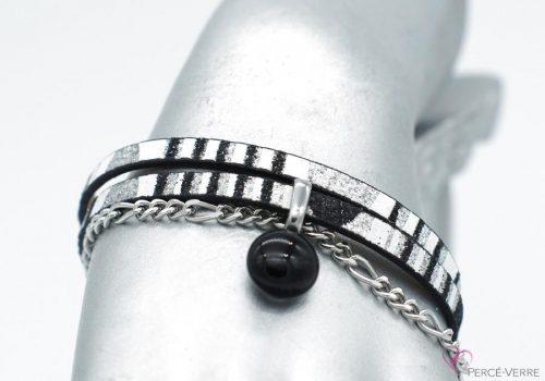 bracelet noir et argent avec breloque de verre, collection chic #1511