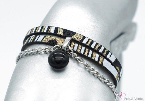 bracelet noir et or avec breloque de verre, collection chic #1512
