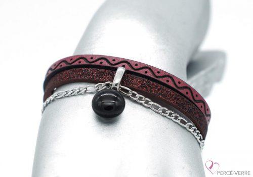 bracelet en cuir bourgogne avec breloque de verre, collection chic #1518