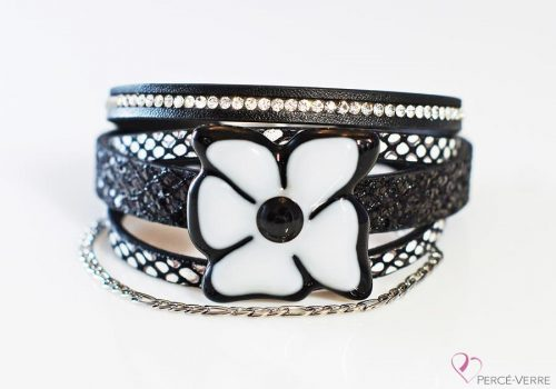 """Bracelet pour femme en cuir et verre, Collection """"Fleur"""" #162FN"""