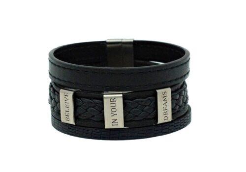 Bracelet en cuir large pour homme personnalisation