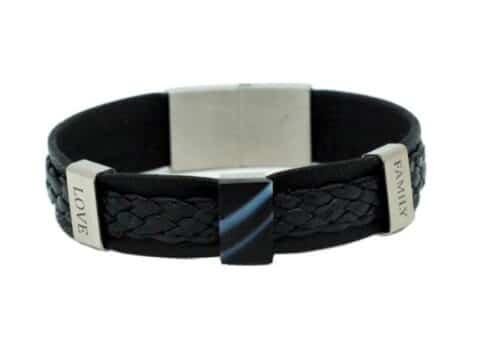 Bracelet en cuir noir tressé pour homme à personnaliser avec bijou