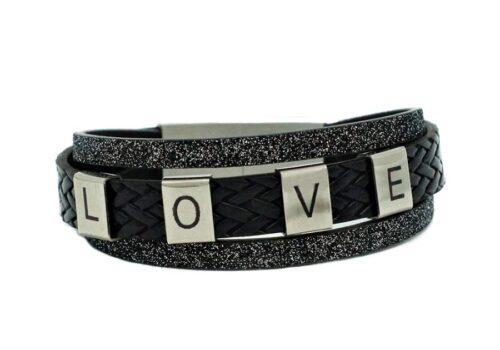 Bracelet LOVE en cuir noir pour femme personnalisation
