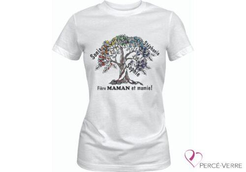 T-Shirt blanc Arbre de vie Maman-Mamie